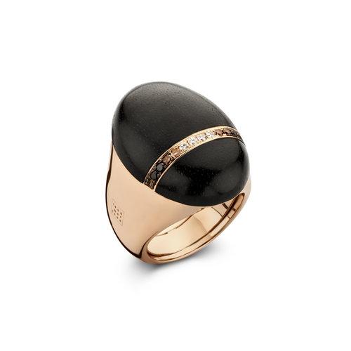 Leon Martens Scarabeo ring in roségoud met diamant en ebbenhout Leon Martens Juwelier