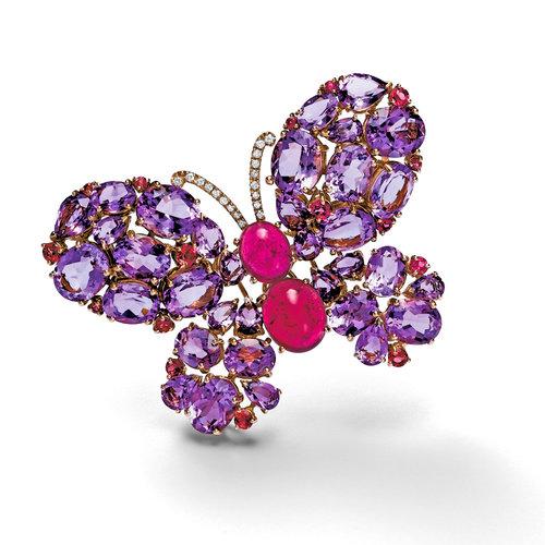 Leon Martens Vlinder broche in roségoud met gekleurde edelstenen Leon Martens Juwelier