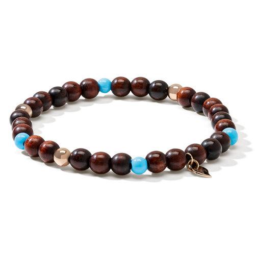 Tamara Comolli India armband, slangenhout, turkoois en roségoud Leon Martens Juwelier