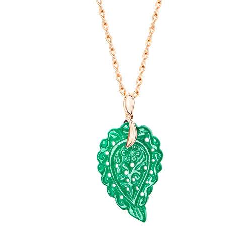 Tamara Comolli India Leaf hanger in roségoud met jade Leon Martens Juwelier