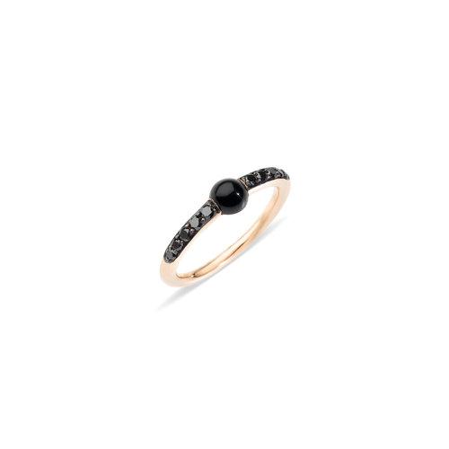 Pomellato M'ama non m'ama ring in roségoud met onyx en zwarte diamant Leon Martens Juwelier