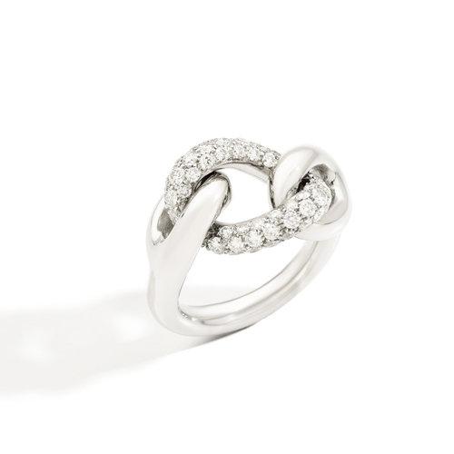 Pomellato Catene ring in witgoud met diamant Leon Martens Juwelier