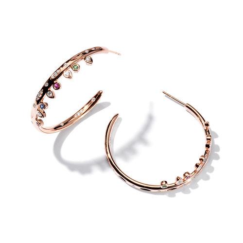 Tamara Comolli Gypsy Candy oorringen in roségoud met kleurrijke edelstenen en diamant Leon Martens Juwelier