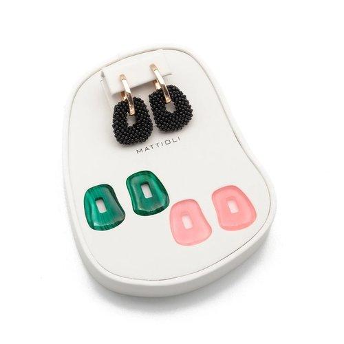 Mattioli Puzzle Black Beats oorhangers in roségoud met kleurstenen Leon Martens Juwelier