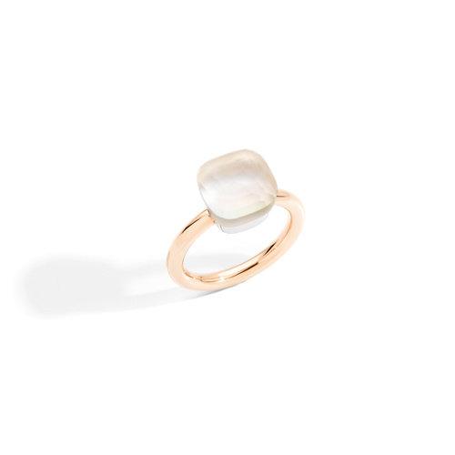 Pomellato Nudo Gelè ring in wit- en roségoud met  parelmoer en witte topaas Leon Martens Juwelier