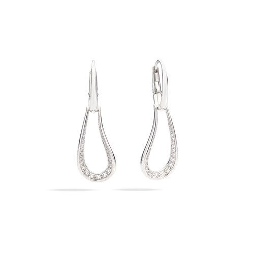 Pomellato Fantina oorhangers in witgoud met diamant Leon Martens Juwelier