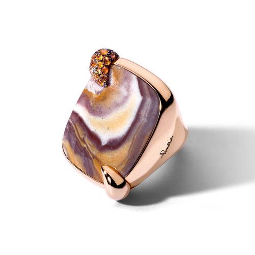 Pomellato Crazy Masala Ritratto ring in roségoud met agaat en mandarijn granaat Leon Martens Juwelier