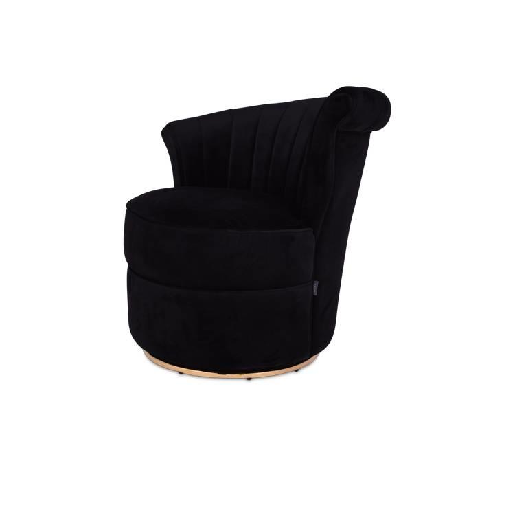 GABY Arm Chair Black Velvet-1