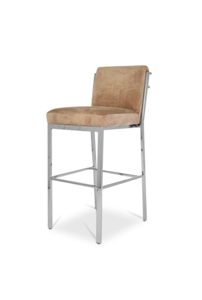 PALMCOURT Bar Stool Taupe Velvet