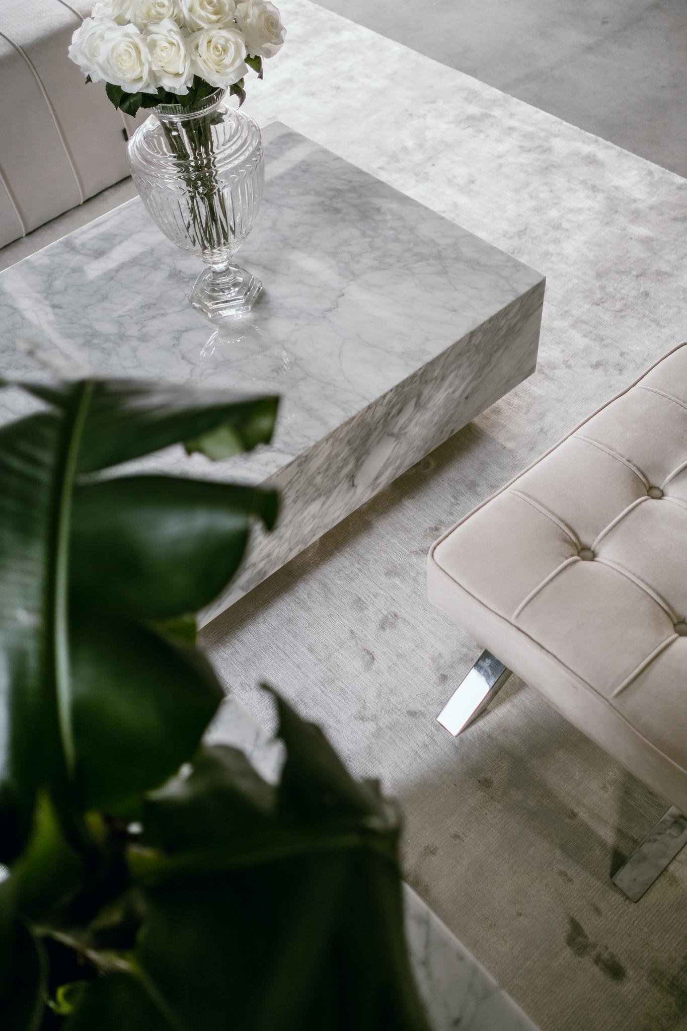 PIENO CARRARA Coffee Table White Square-3