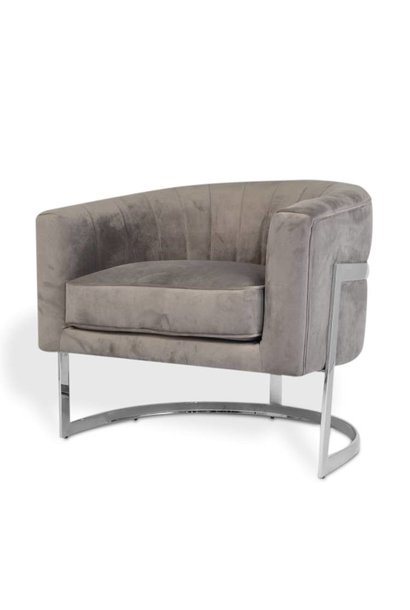 ROBERTO Arm Chair Mid Grey Velvet