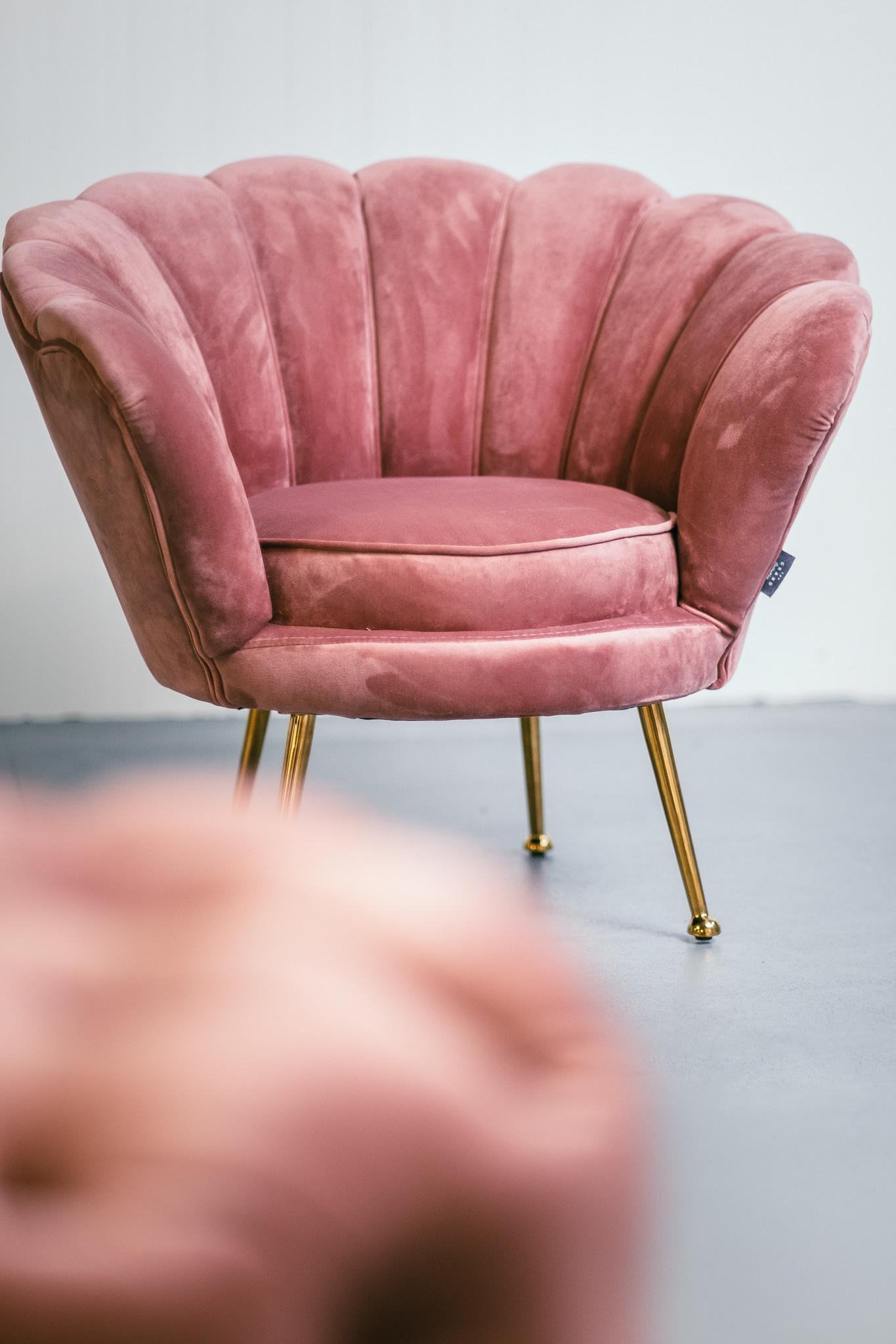 KIDS TRESOR Shell Chair Rose Red Velvet-3