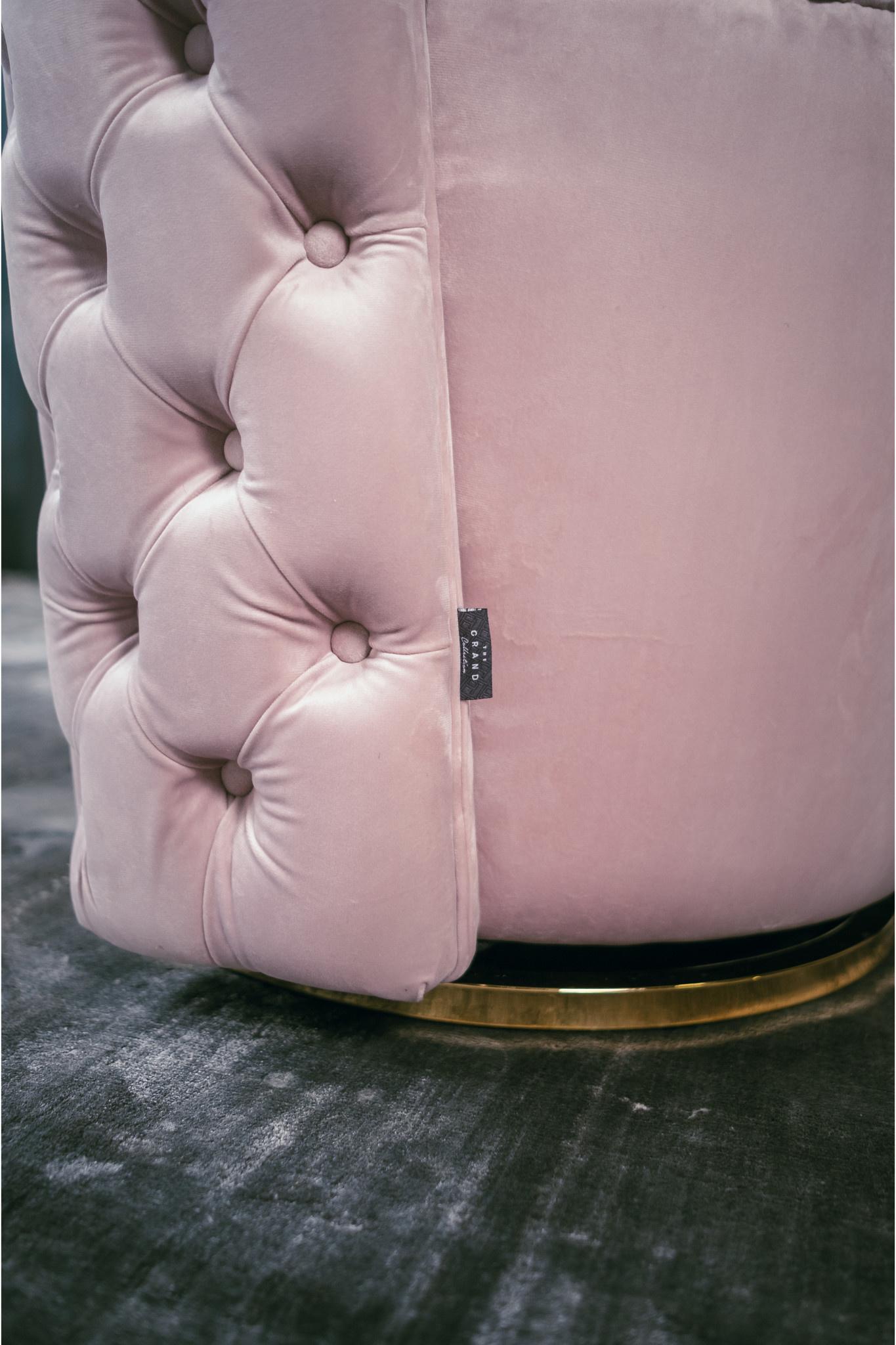SWAN Arm Chair Light Pink Velvet-4