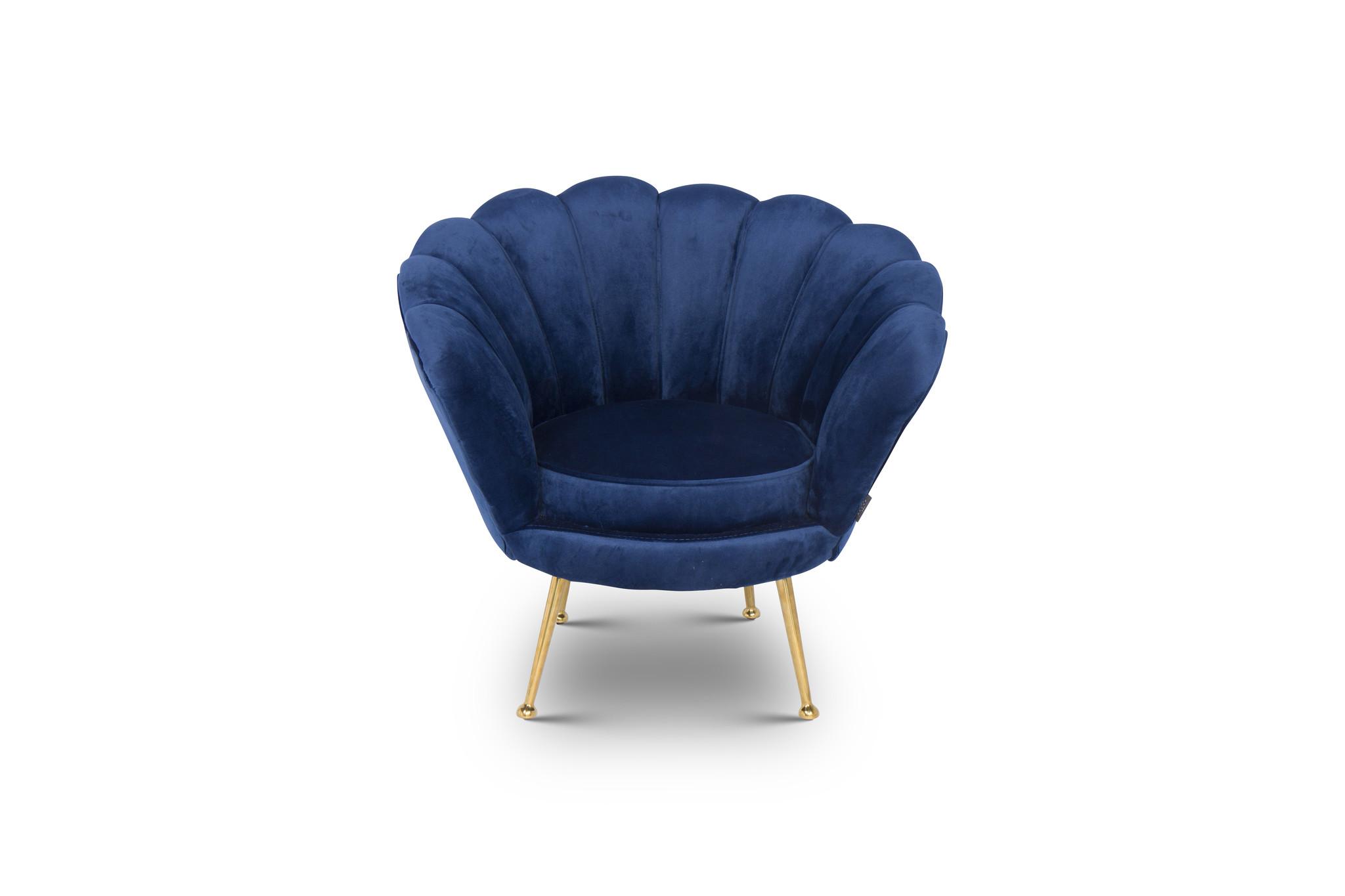 KIDS TRESOR Shell Chair Navy Velvet-1