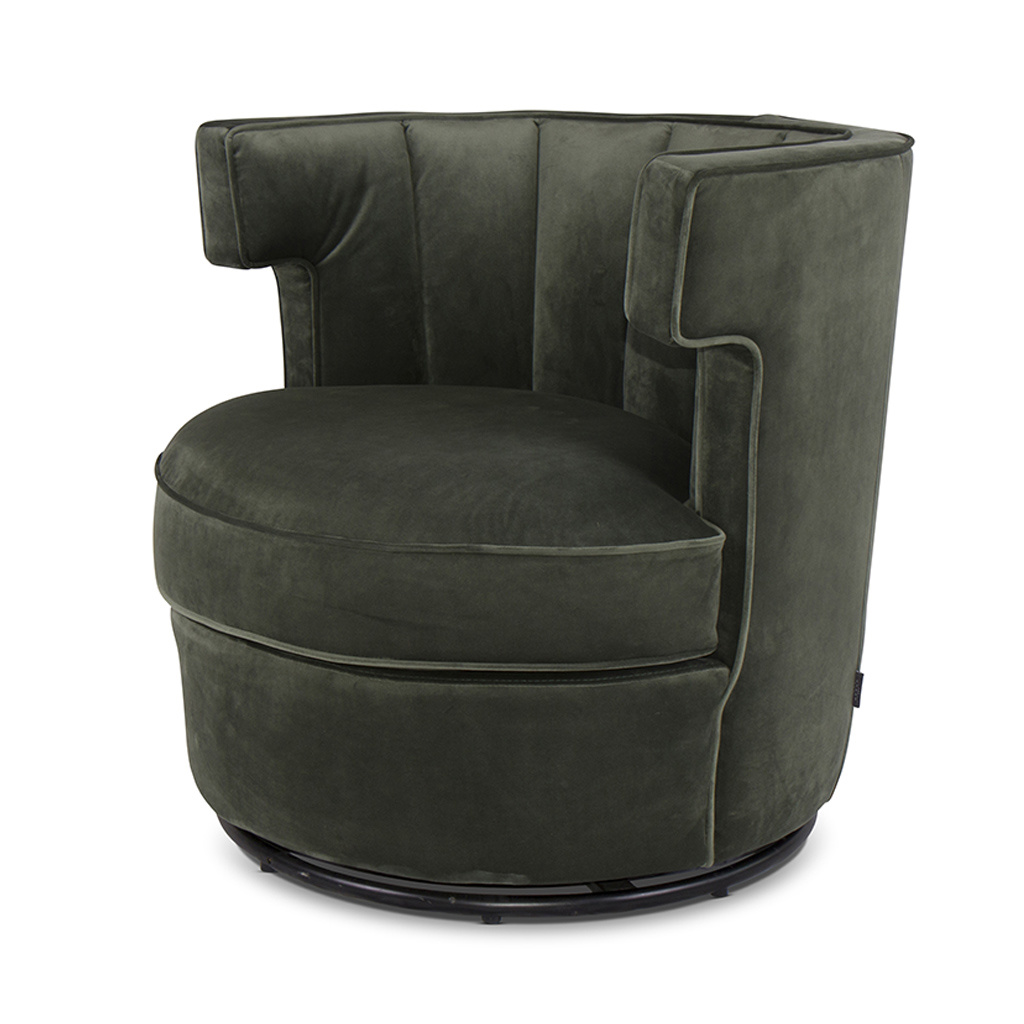 PORTOFINO Arm Chair Forest Green Velvet-1