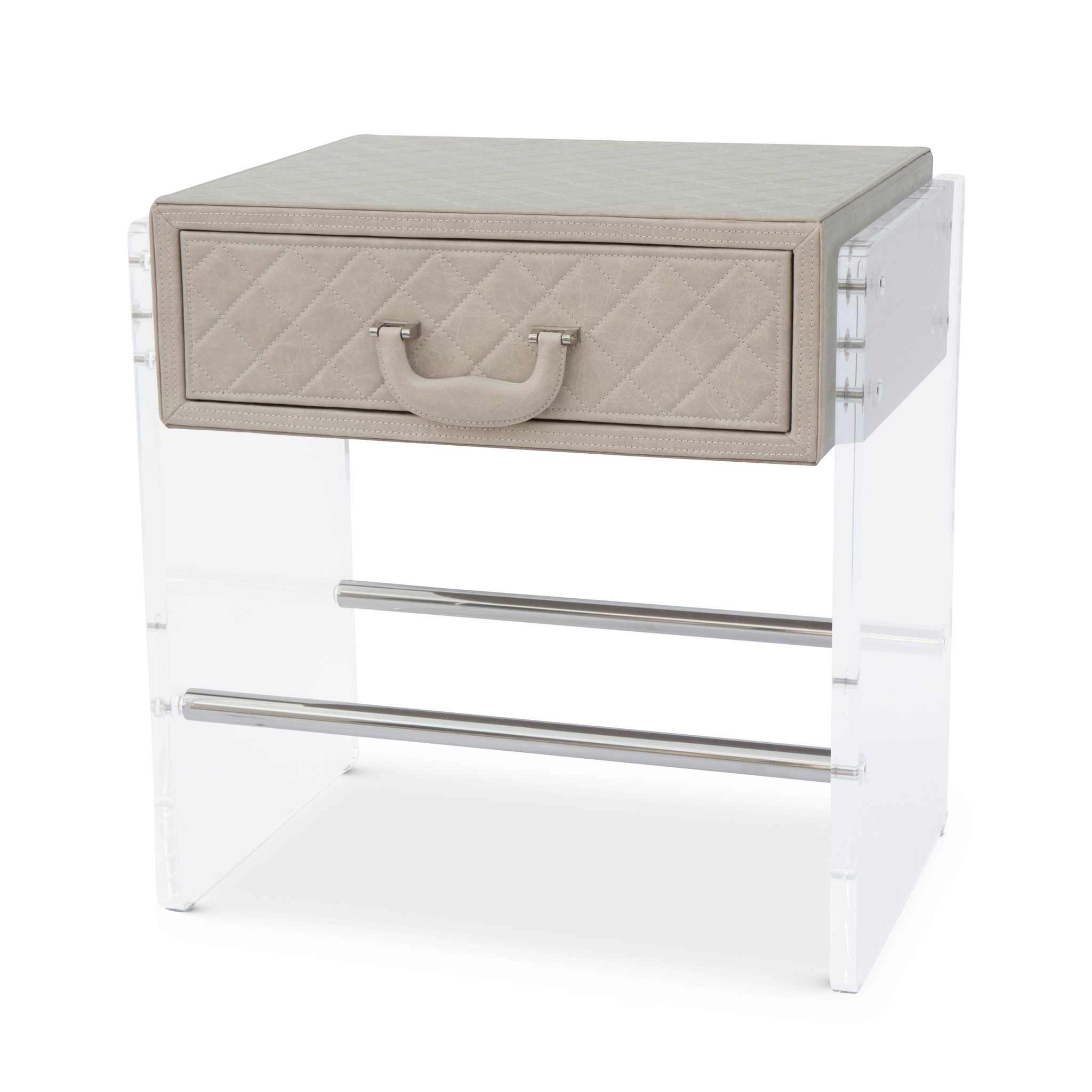 GENOVA Side Table Cappucino Leather-1