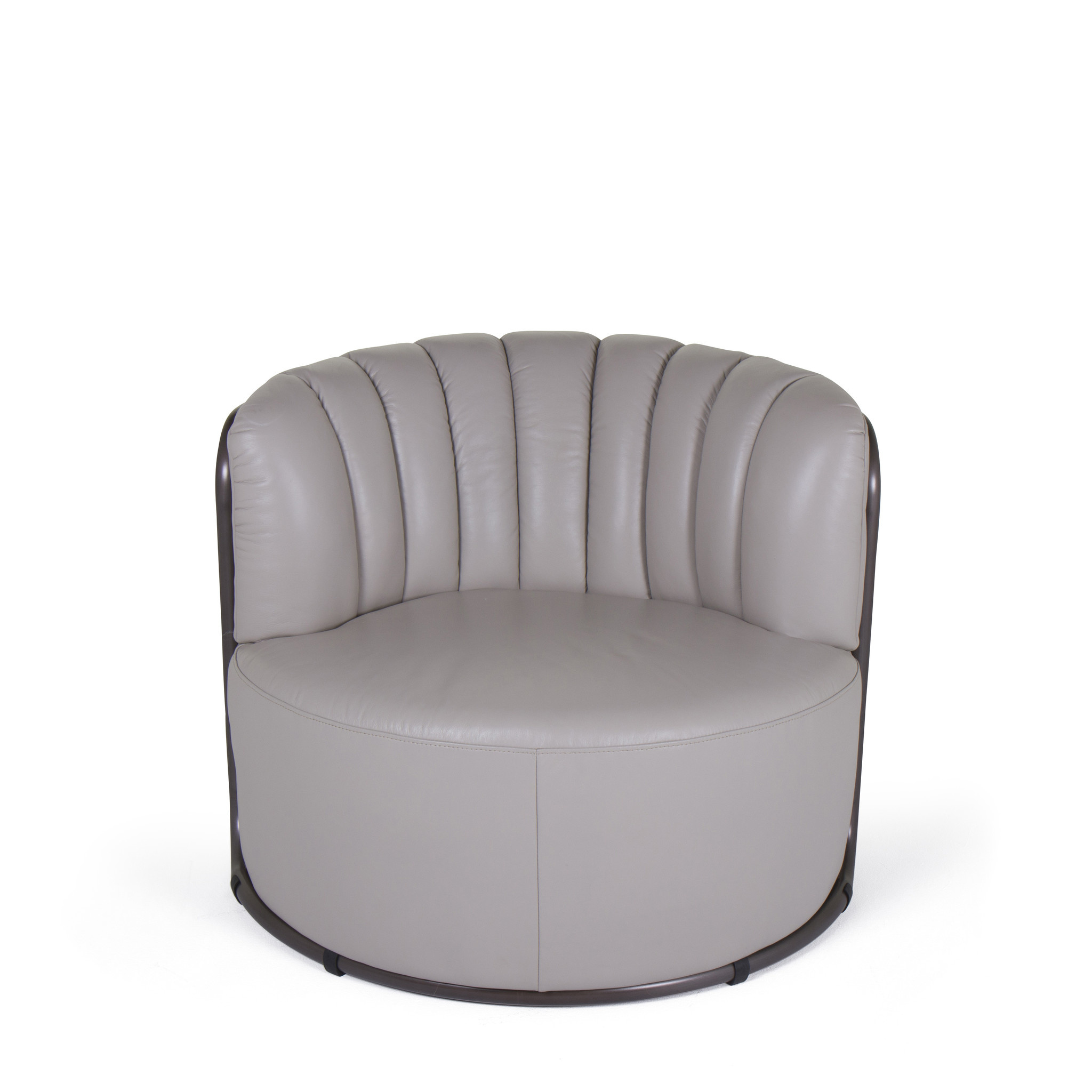 MONTI Arm Chair Cappuccino White Leather-2
