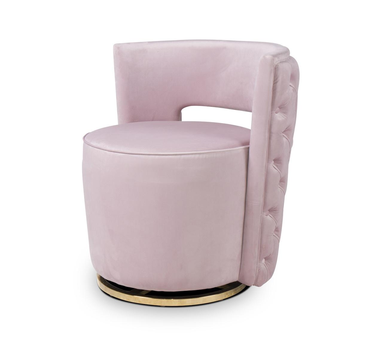 SWAN Arm Chair Light Pink Velvet-1