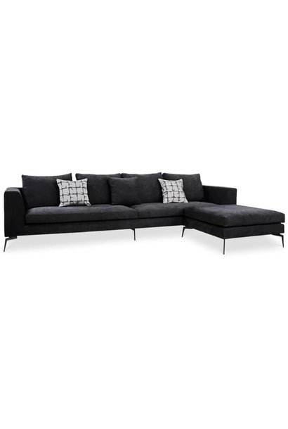 DONATELLA Corner Sofa Black Velvet Large