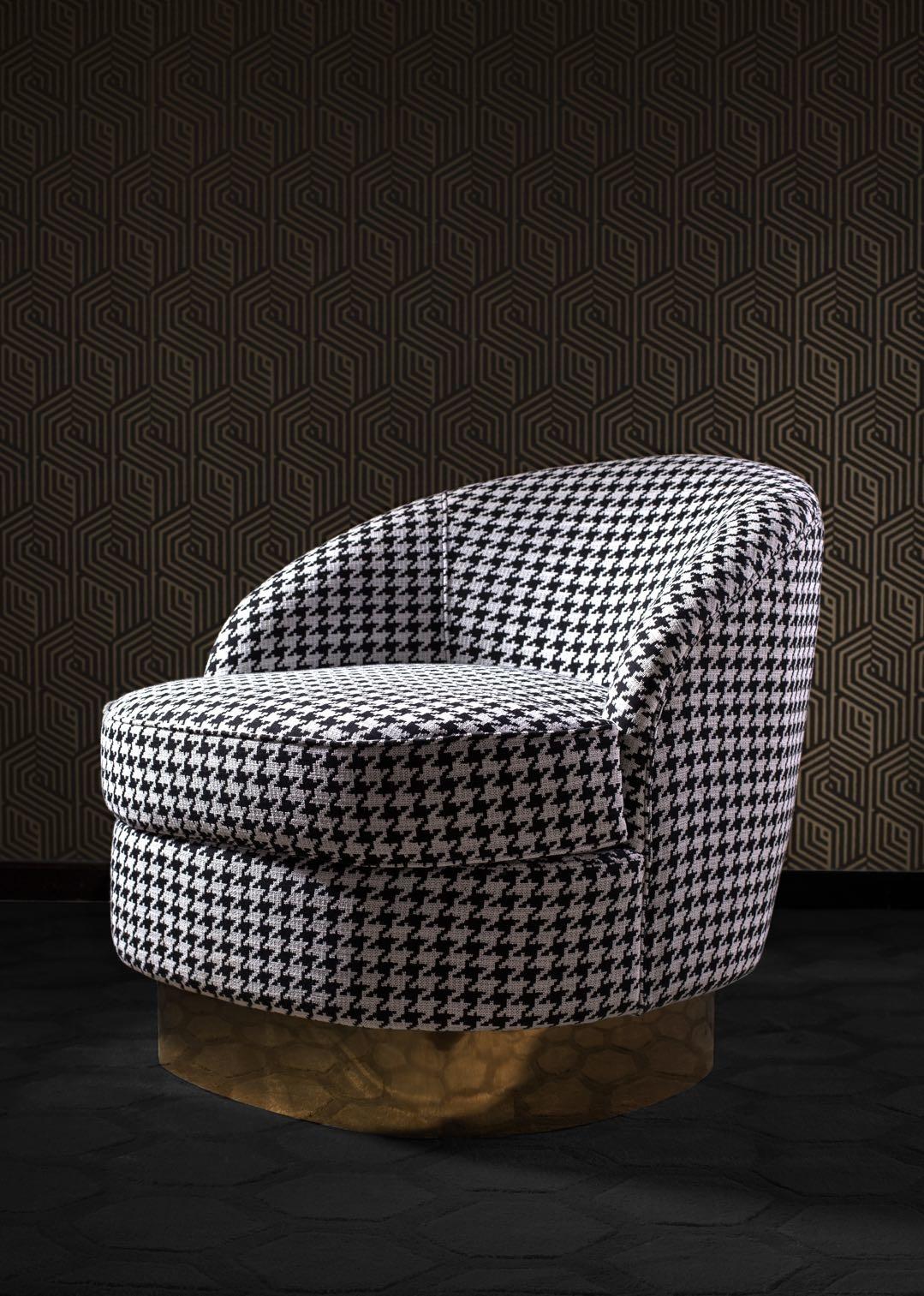GIARDION Arm Chair Black Pied de Poule-4