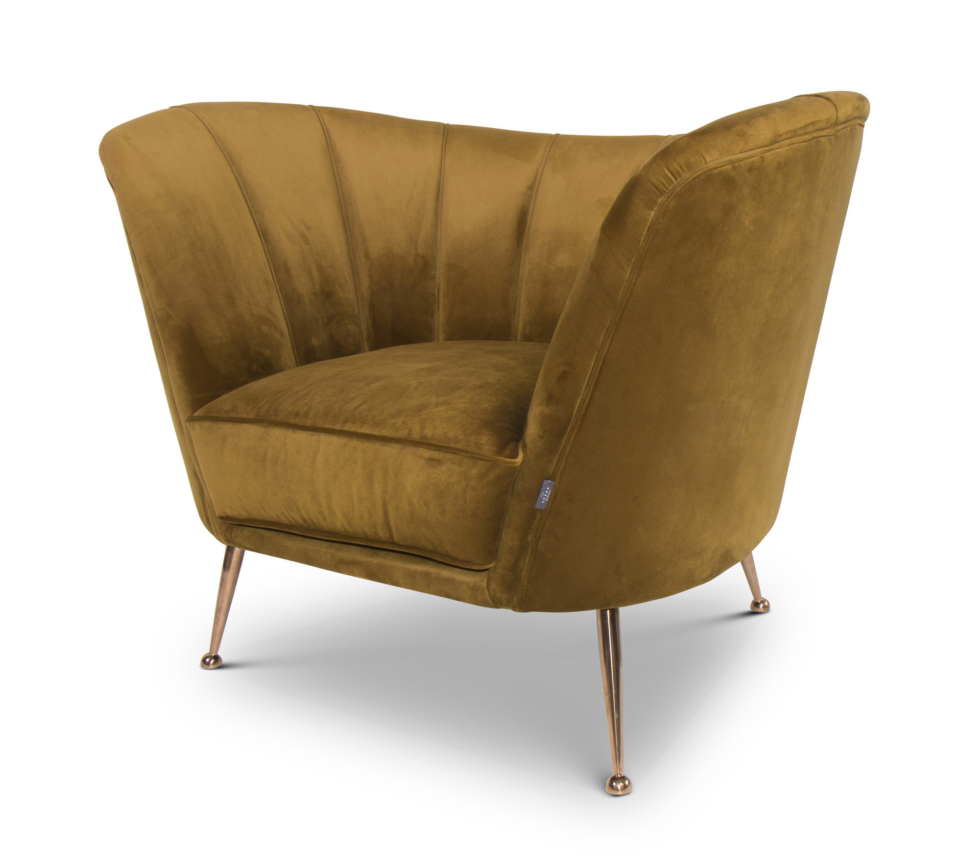 AVEIRO Arm Chair Ochre Velvet-1