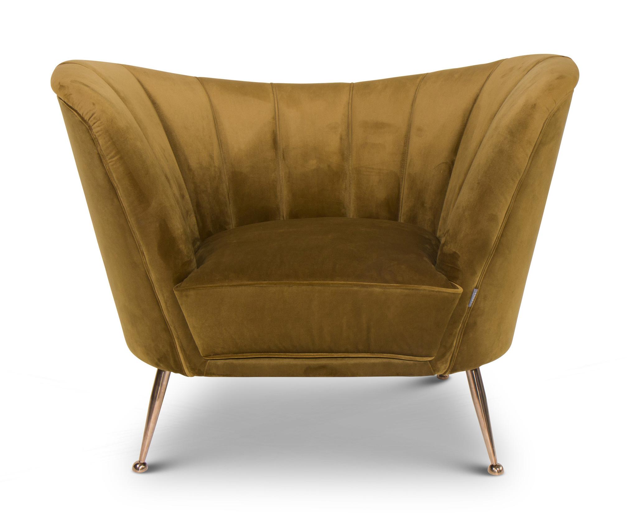 AVEIRO Arm Chair Ochre Velvet-2