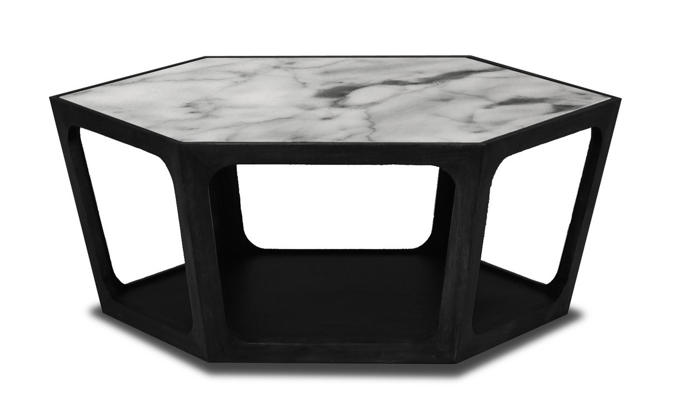 AMADEO Coffee Table White Marble 90cm-1