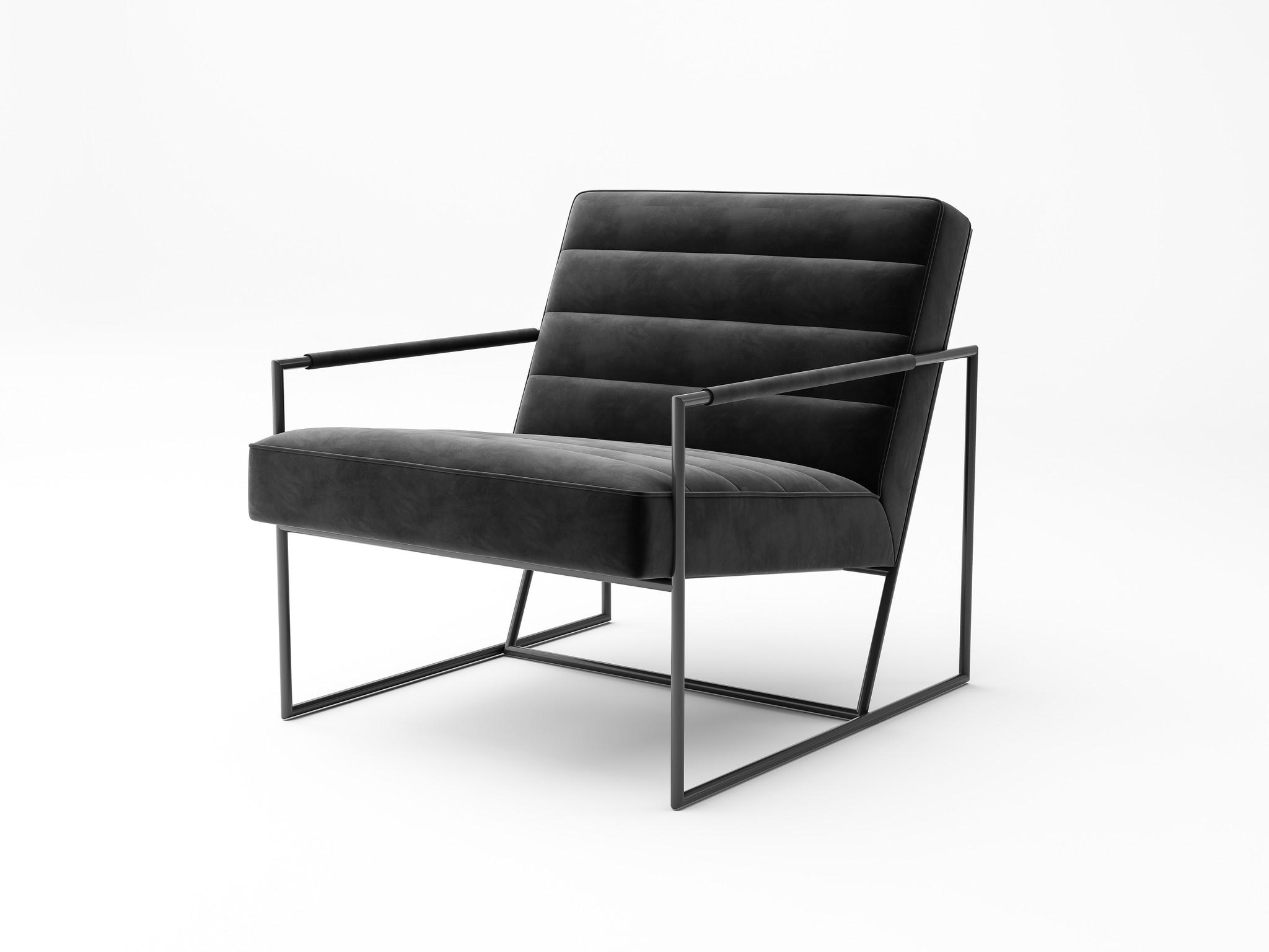 MODENA Arm Chair Black Velvet-1