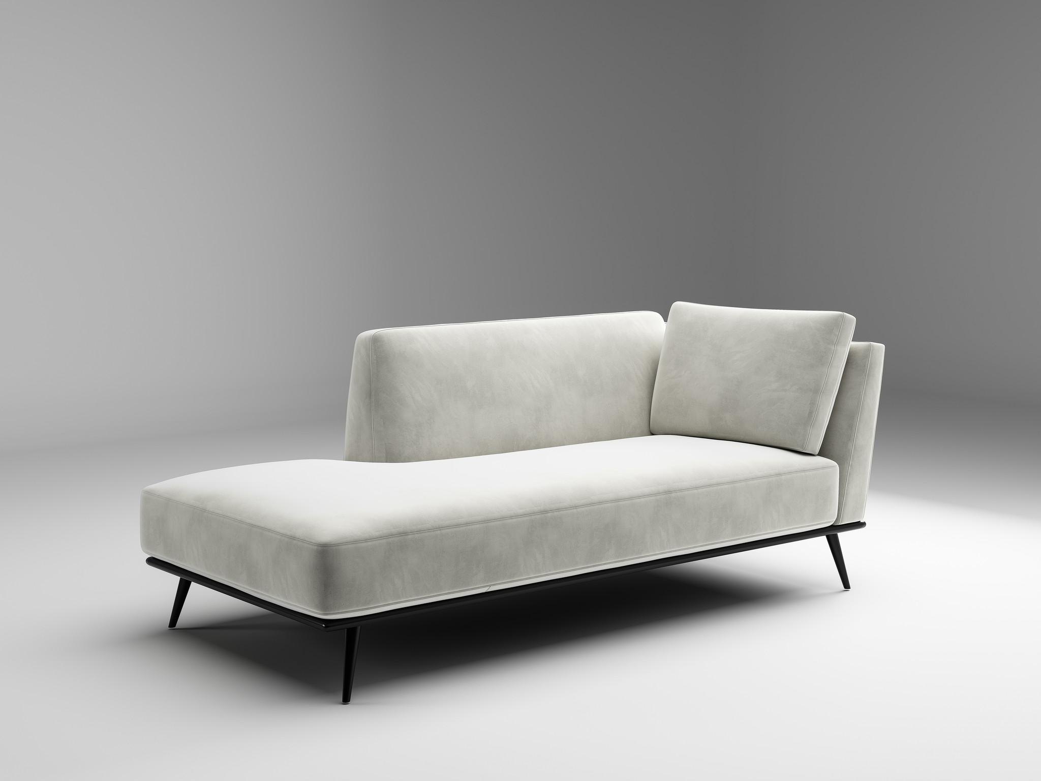 LUCA Chaise Longue light grey velvet-1