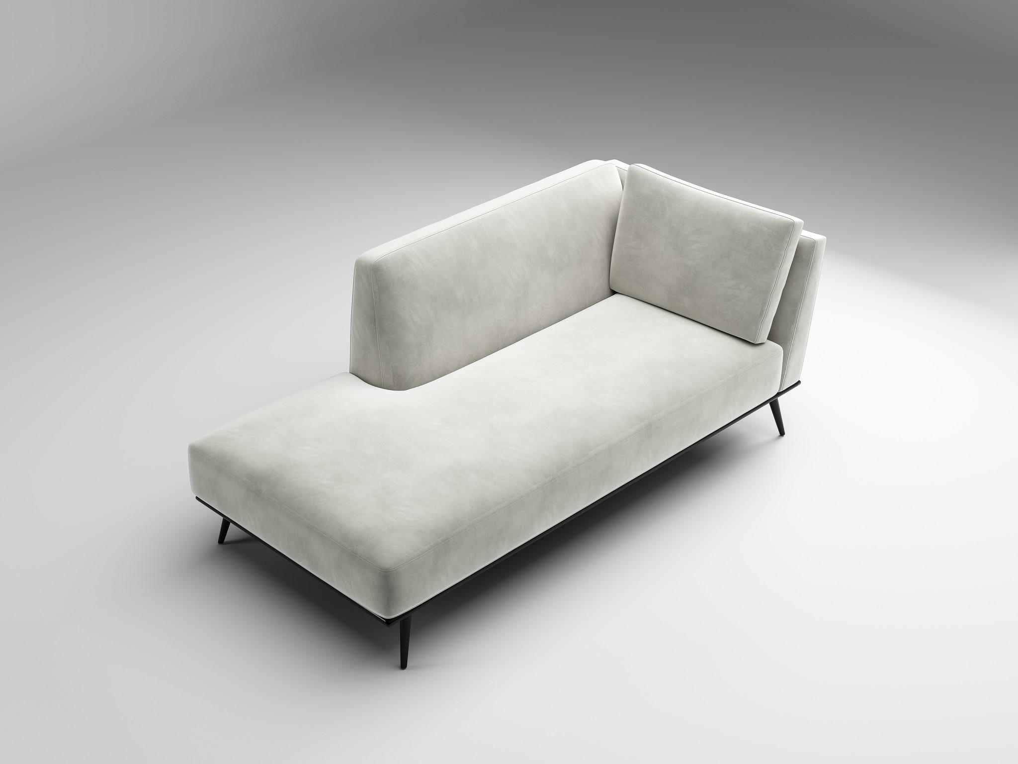 LUCA Chaise Longue light grey velvet-2