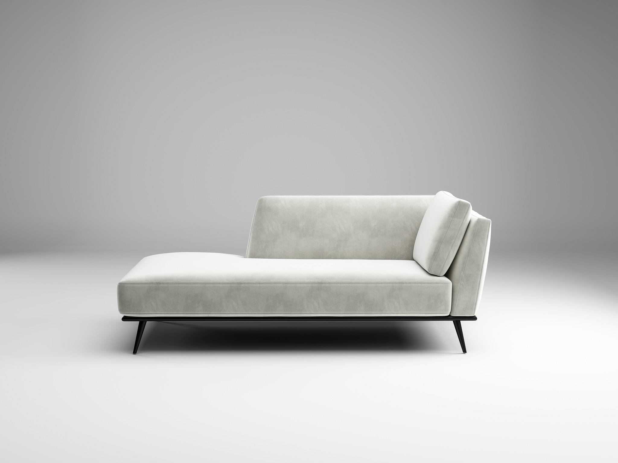 LUCA Chaise Longue light grey velvet-3