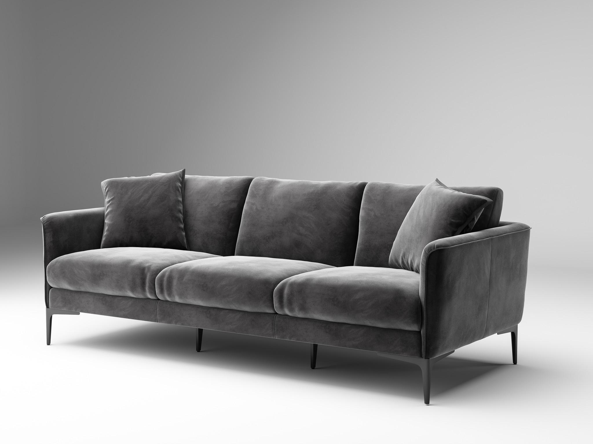ARMANI Sofa mid grey velvet-1
