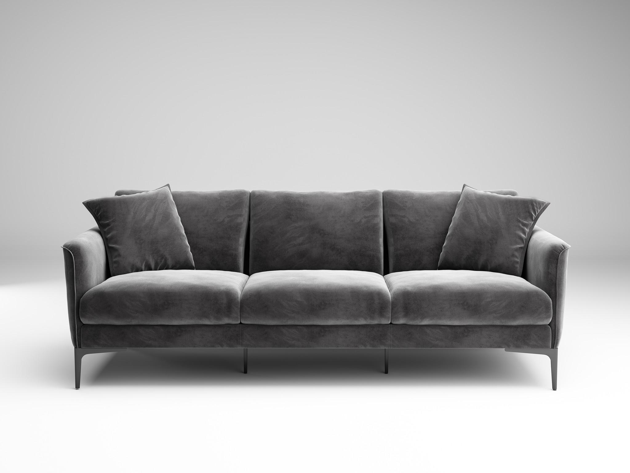 ARMANI Sofa mid grey velvet-3
