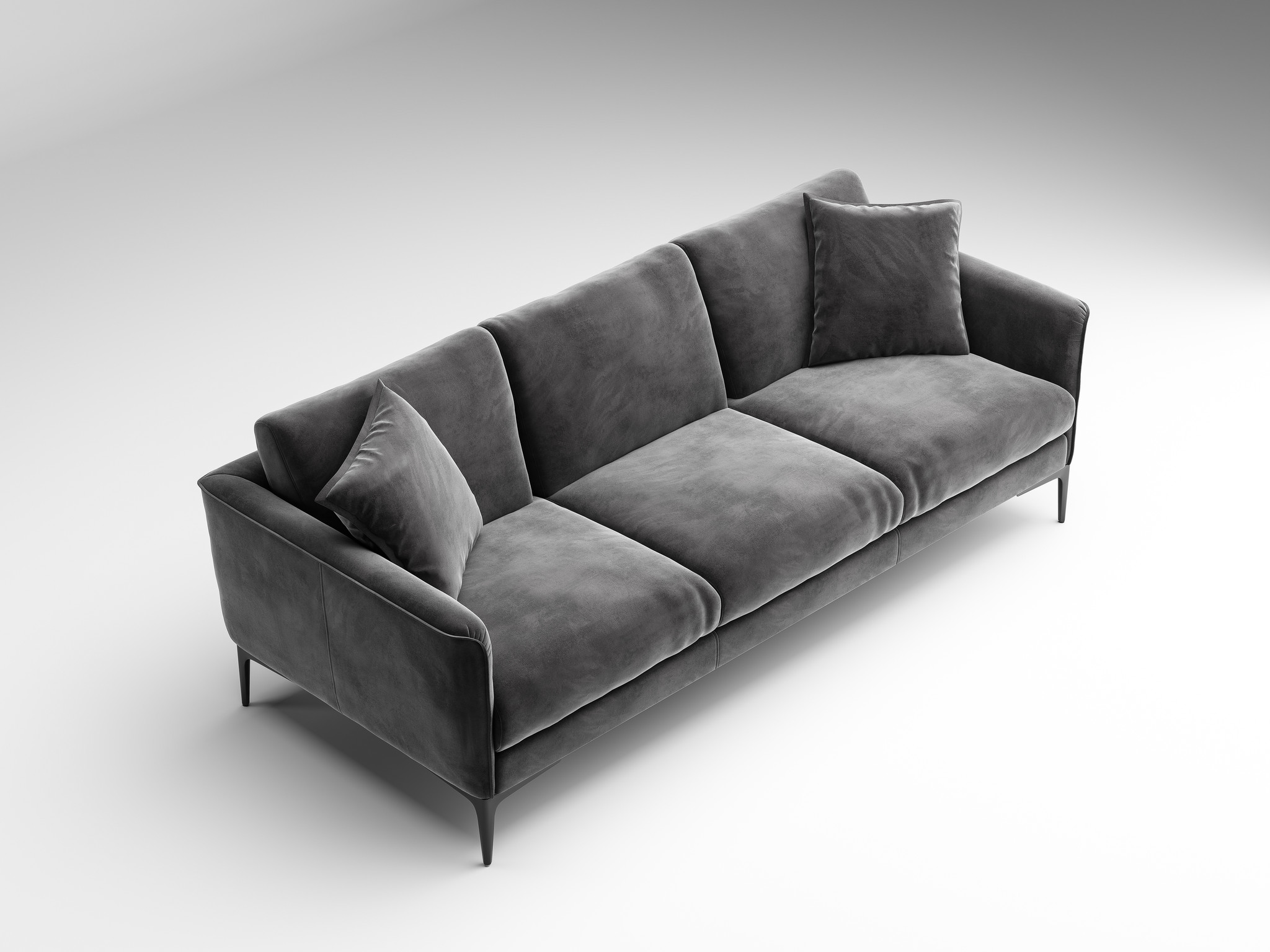ARMANI Sofa mid grey velvet-2
