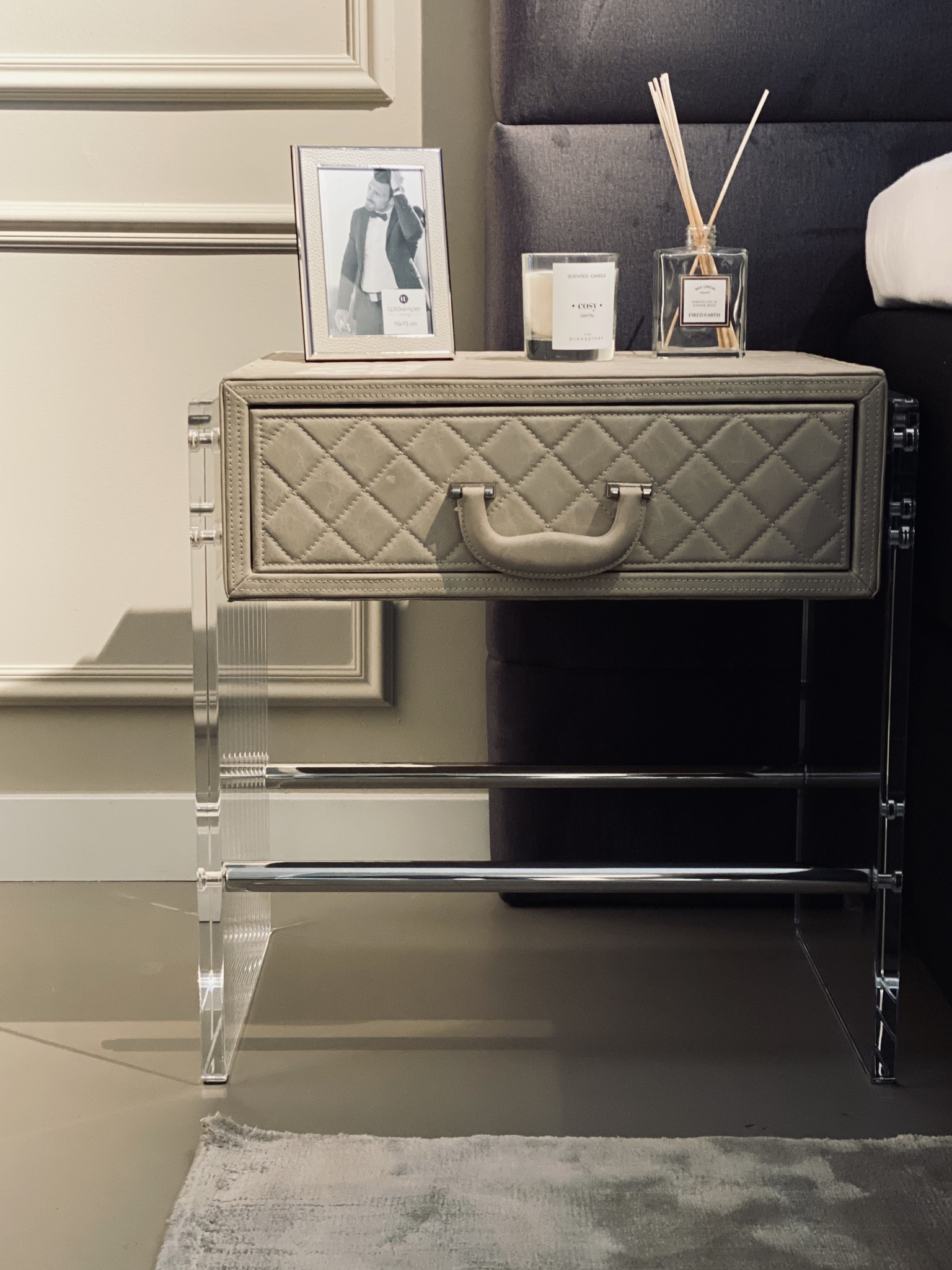 GENOVA Side Table Cappucino Leather-4