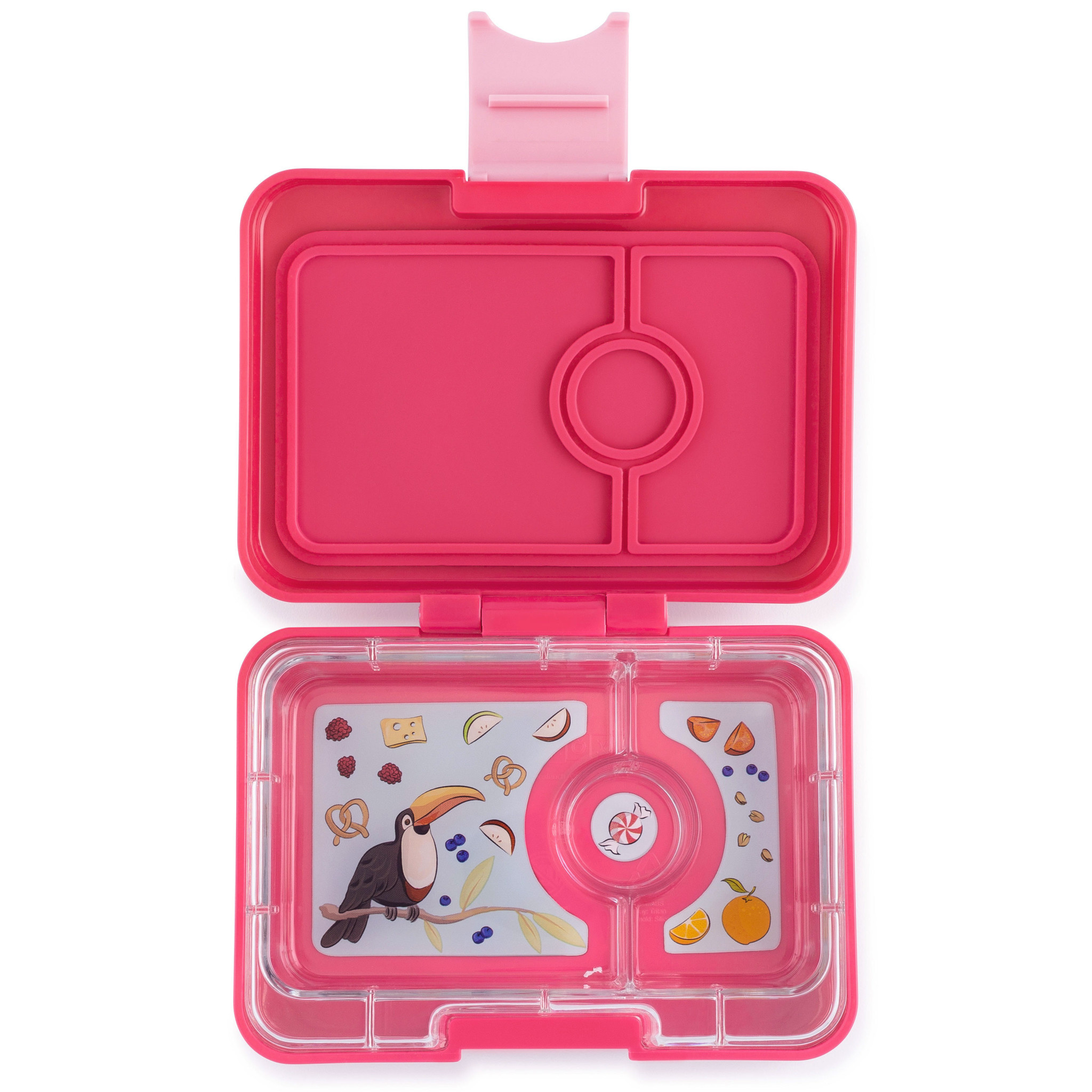 Yumbox MiniSnack 3-sections Lotus pink / Toucan tray-1