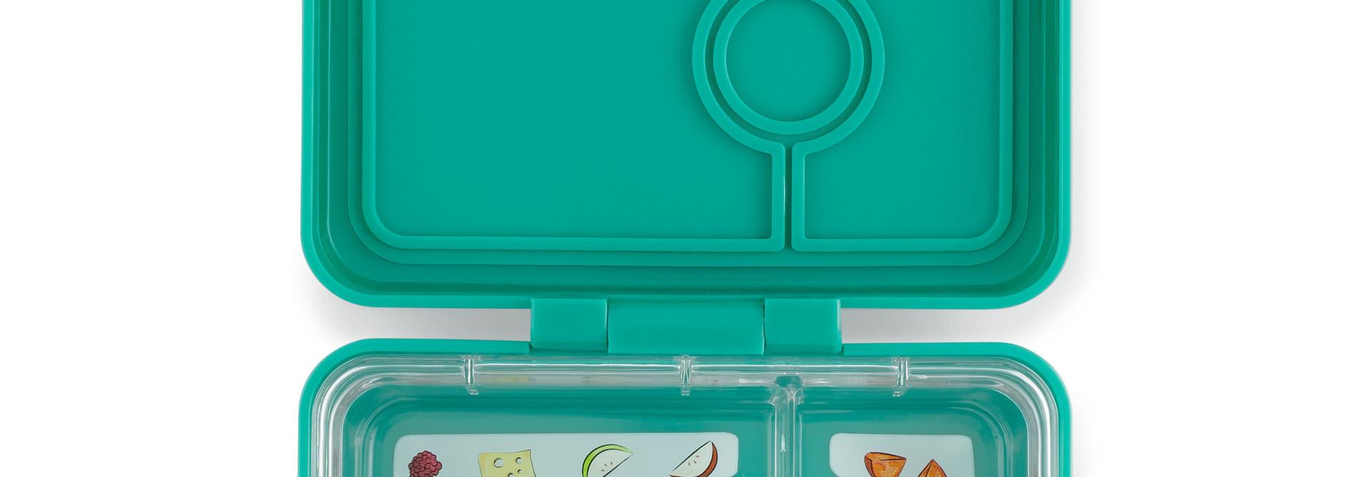 Yumbox MiniSnack broodtrommel 3 vakken, Kashmir blauw (aqua) / Toucan tray