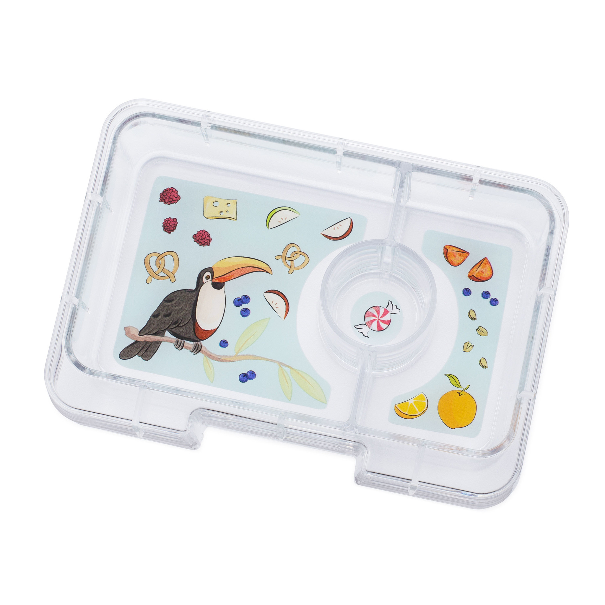 Yumbox MiniSnack 3-sections Saffron orange / Toucan tray-2
