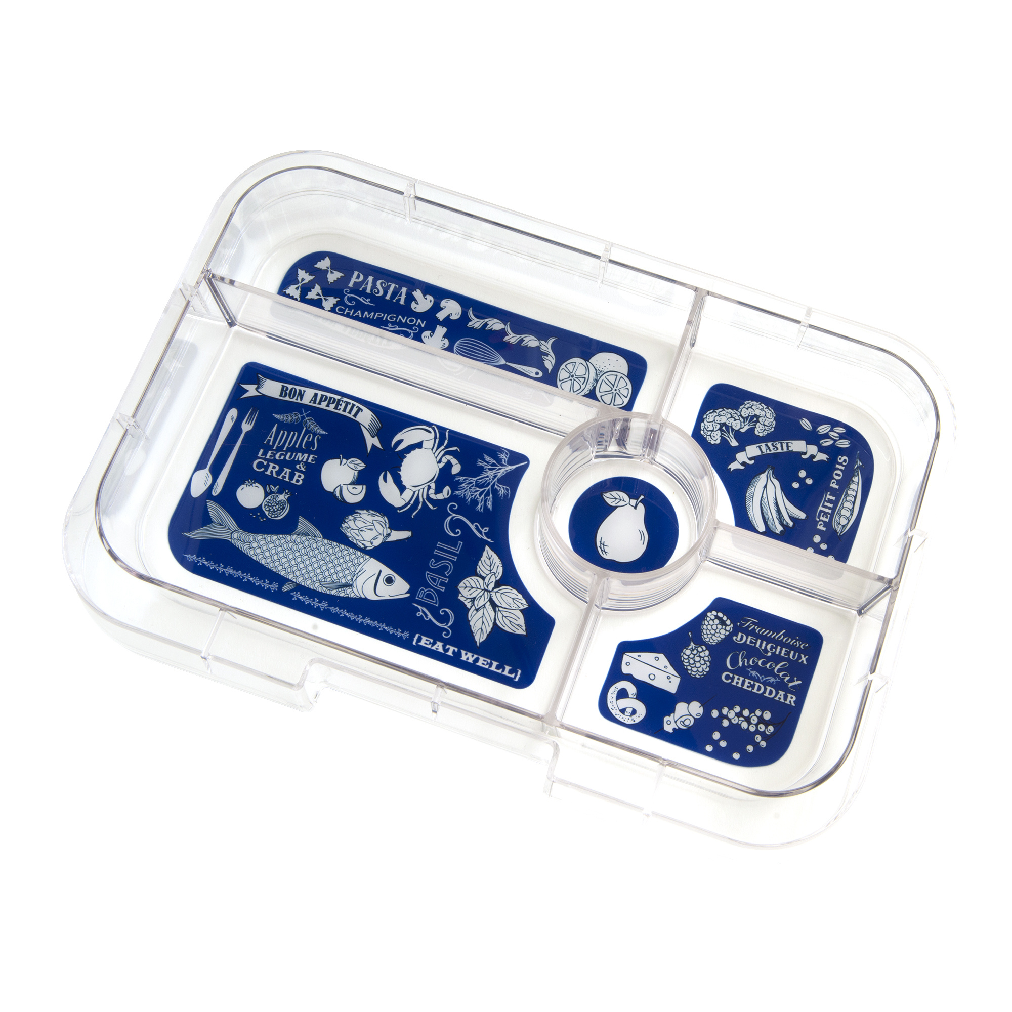 Yumbox Tapas XL 5-sections Portofino blue / Bon appetit tray-4