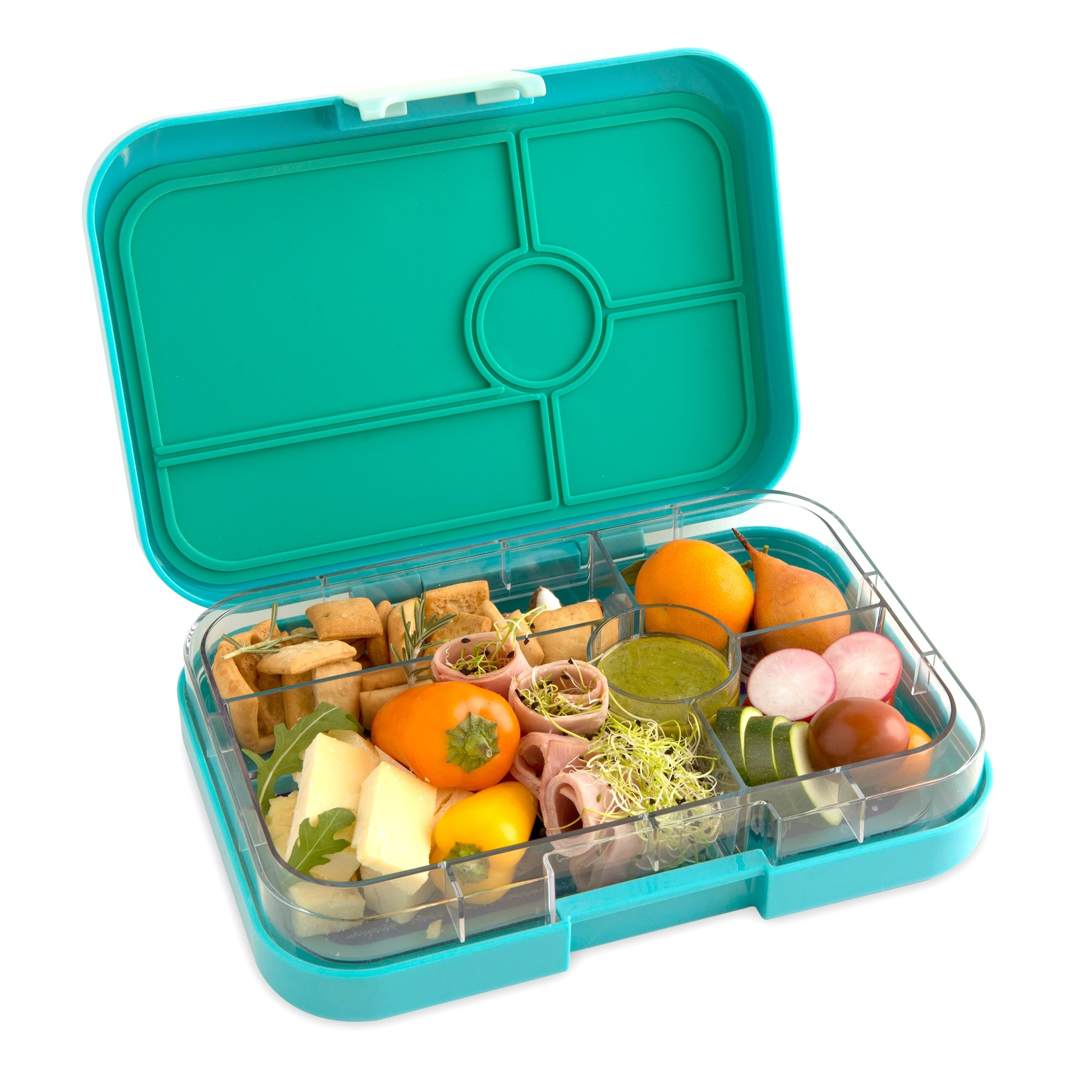 Yumbox Tapas XL broodtrommel Antibes blauw / Bon appetit tray 5 vakken-2
