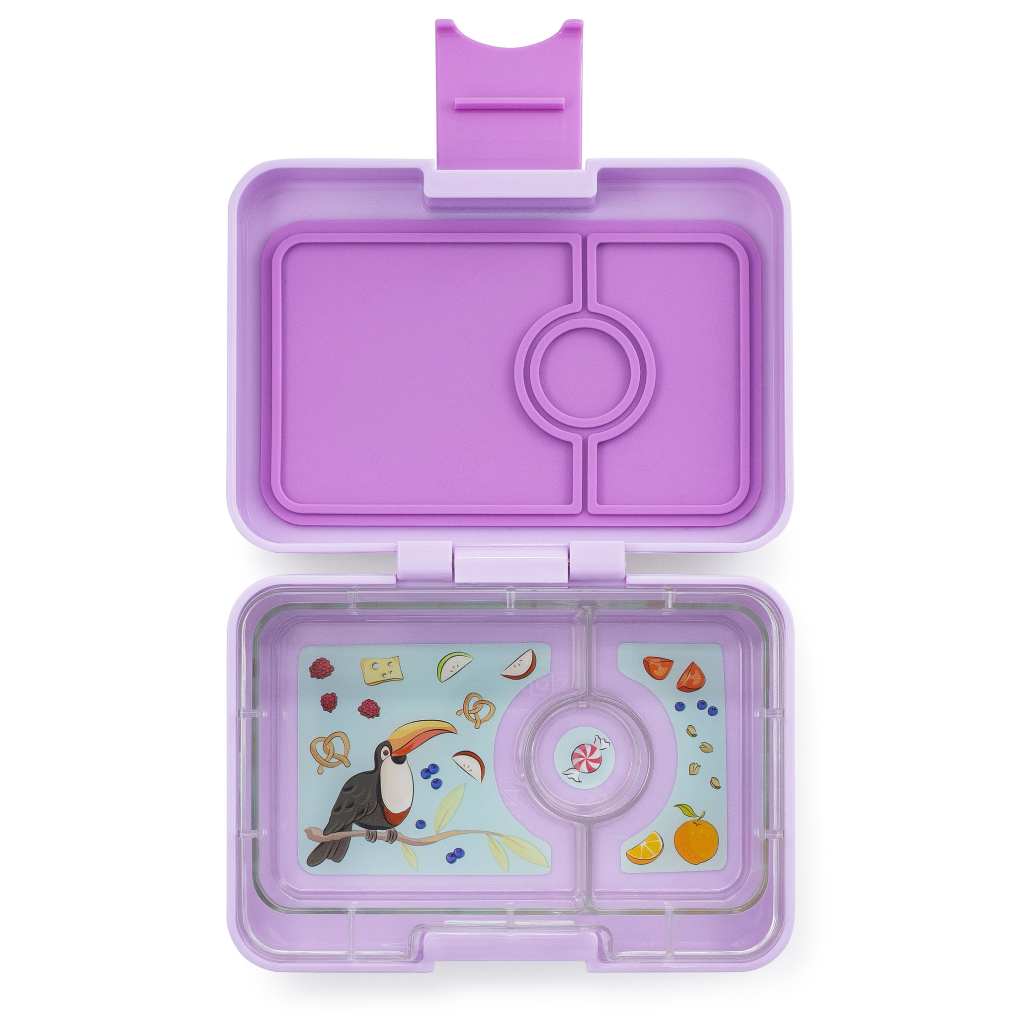 Yumbox MiniSnack 3-sections Lila purple / Toucan tray-1