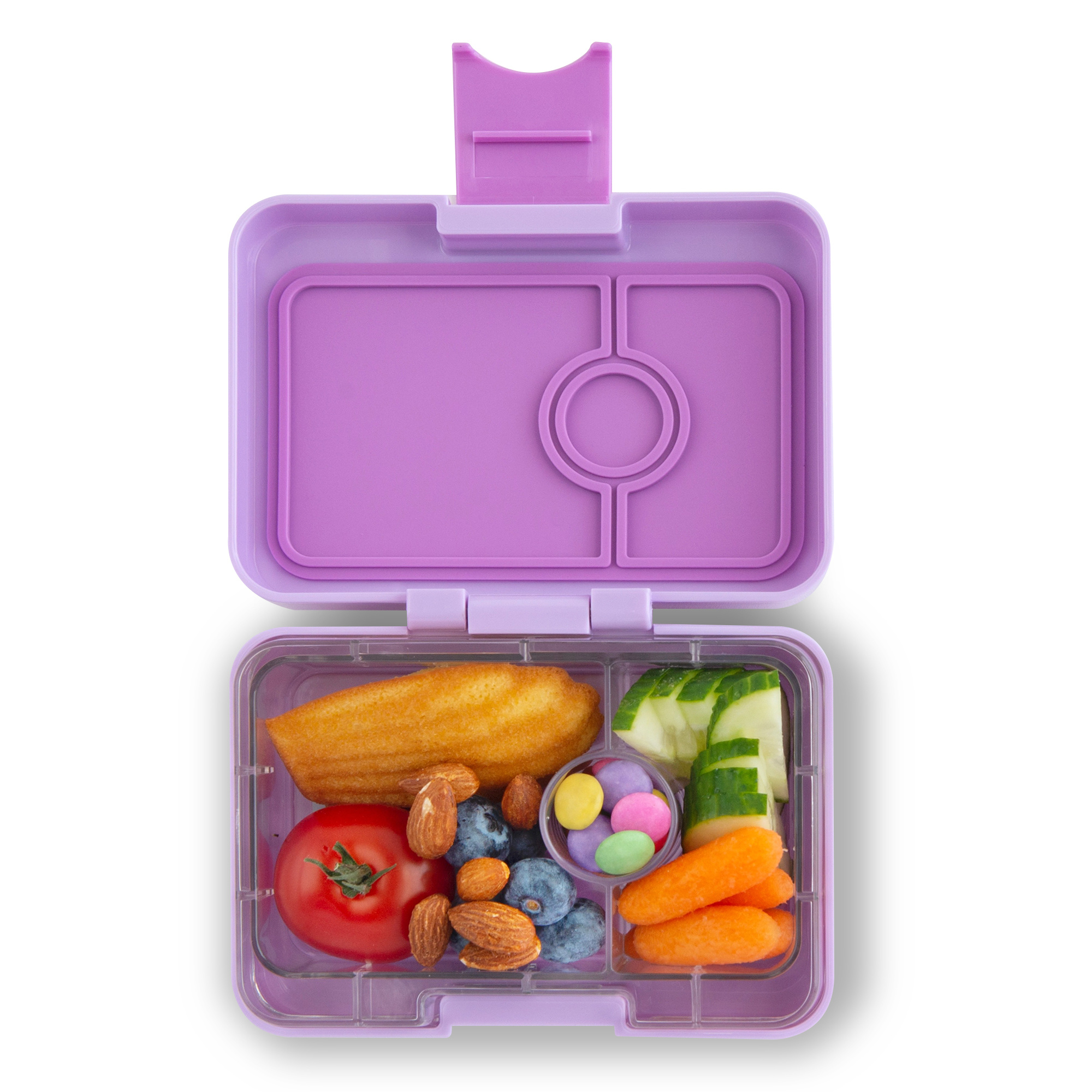 Yumbox MiniSnack 3-sections Lila purple / Toucan tray-2
