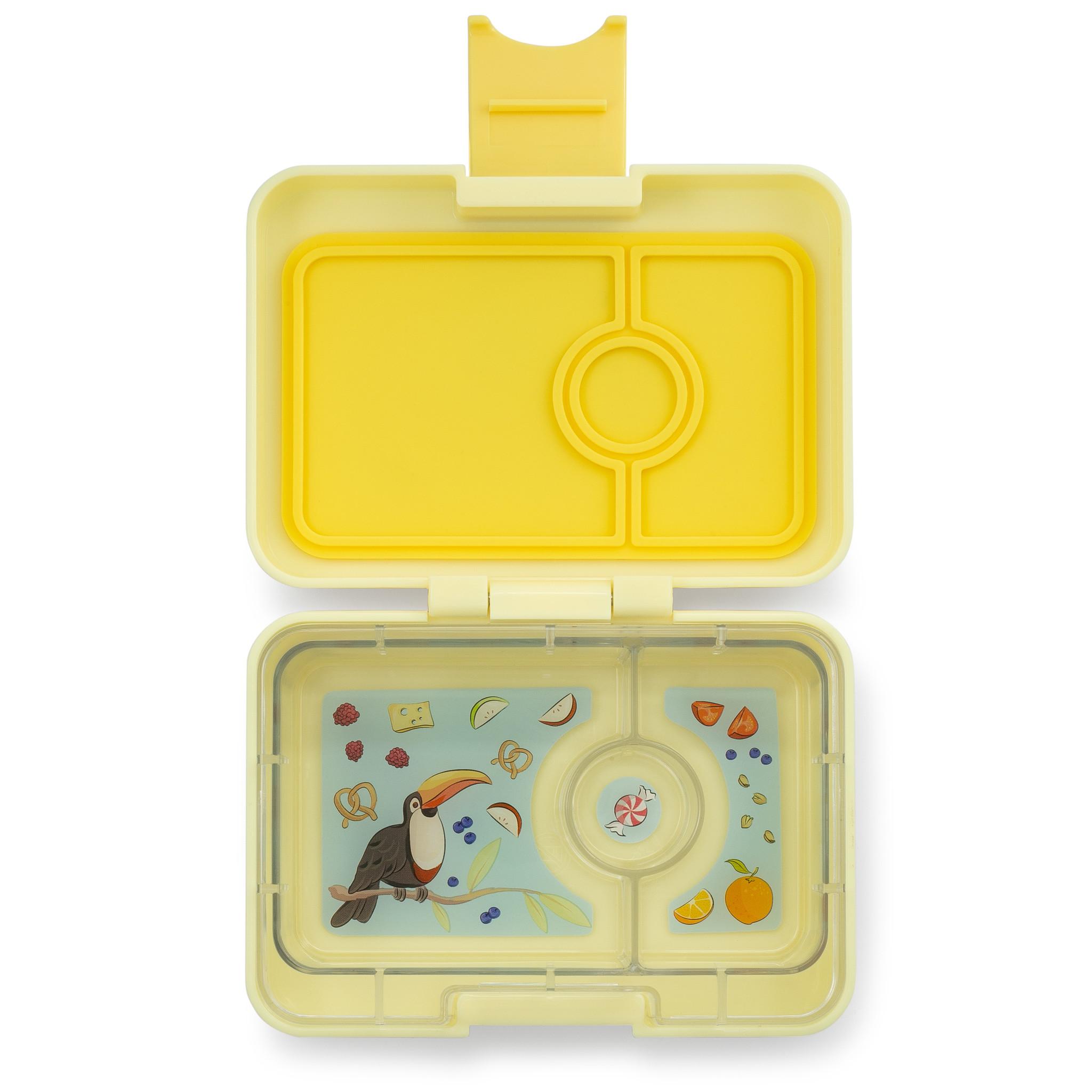 Yumbox MiniSnack broodtrommel 3 vakken Sunburst geel / Toucan tray-1