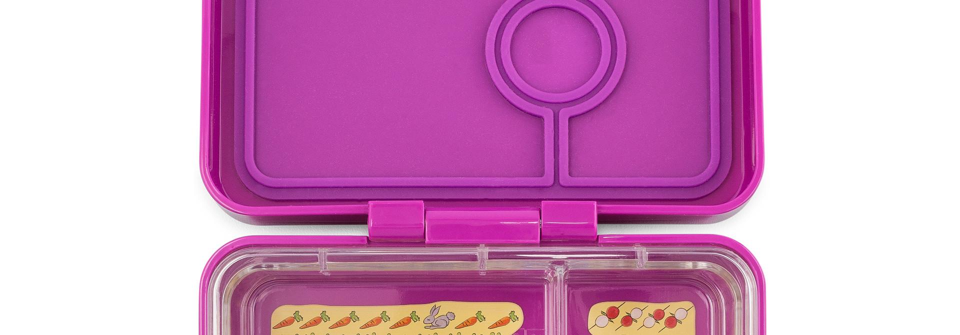 Yumbox MiniSnack broodtrommel 3 vakken Bijoux paars / Kittycat tray