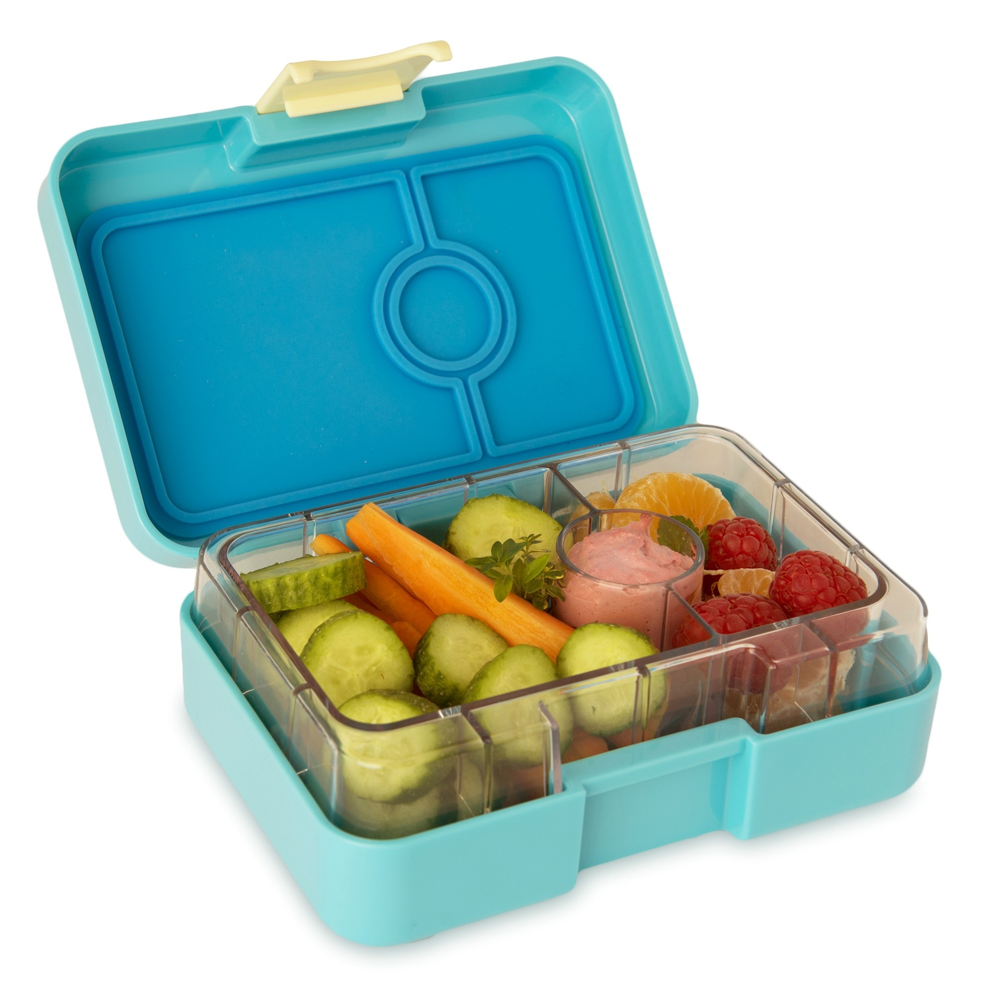 Yumbox MiniSnack 3 sections Cannes blue / Kittycat tray-2