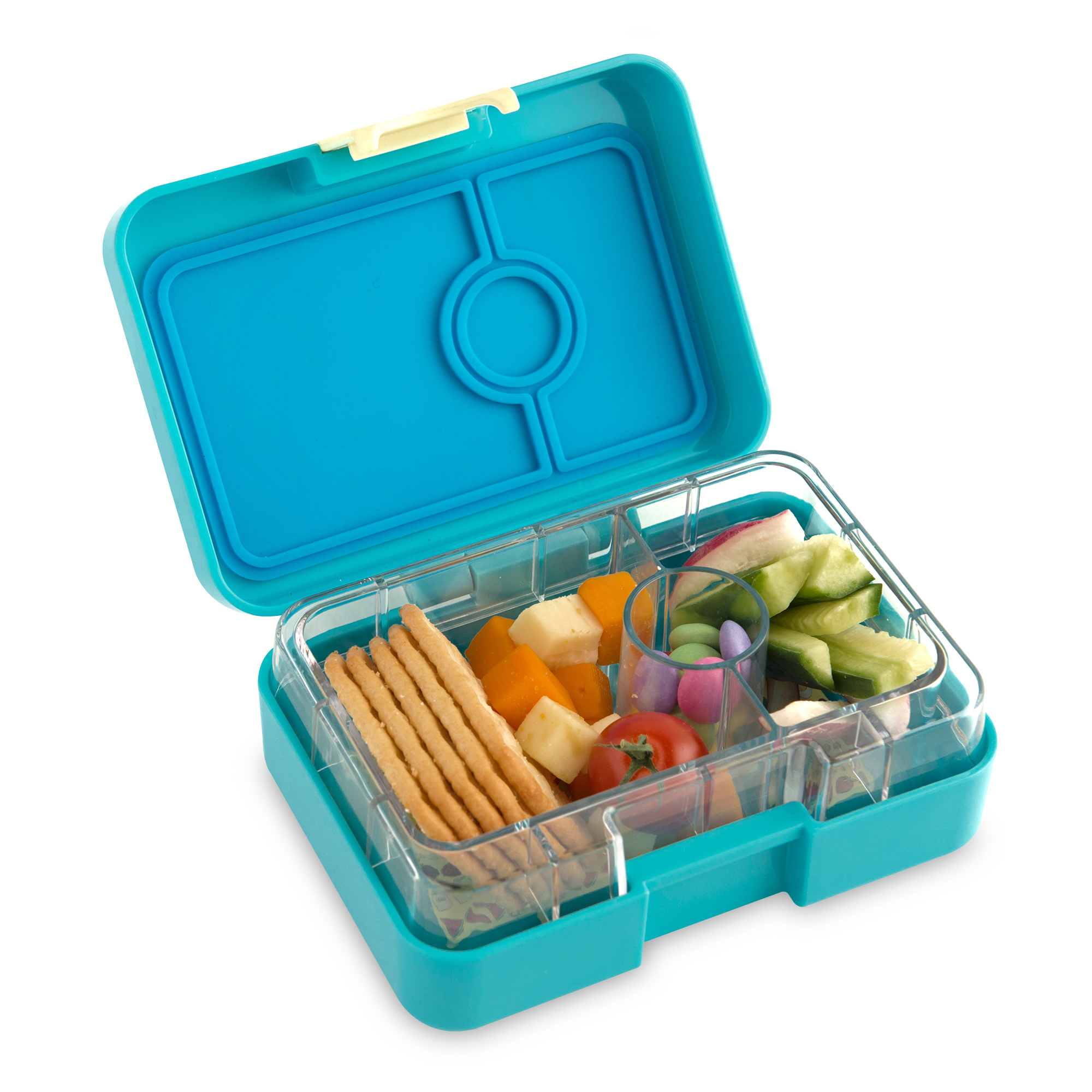 Yumbox MiniSnack 3 sections Cannes blue / Kittycat tray-4