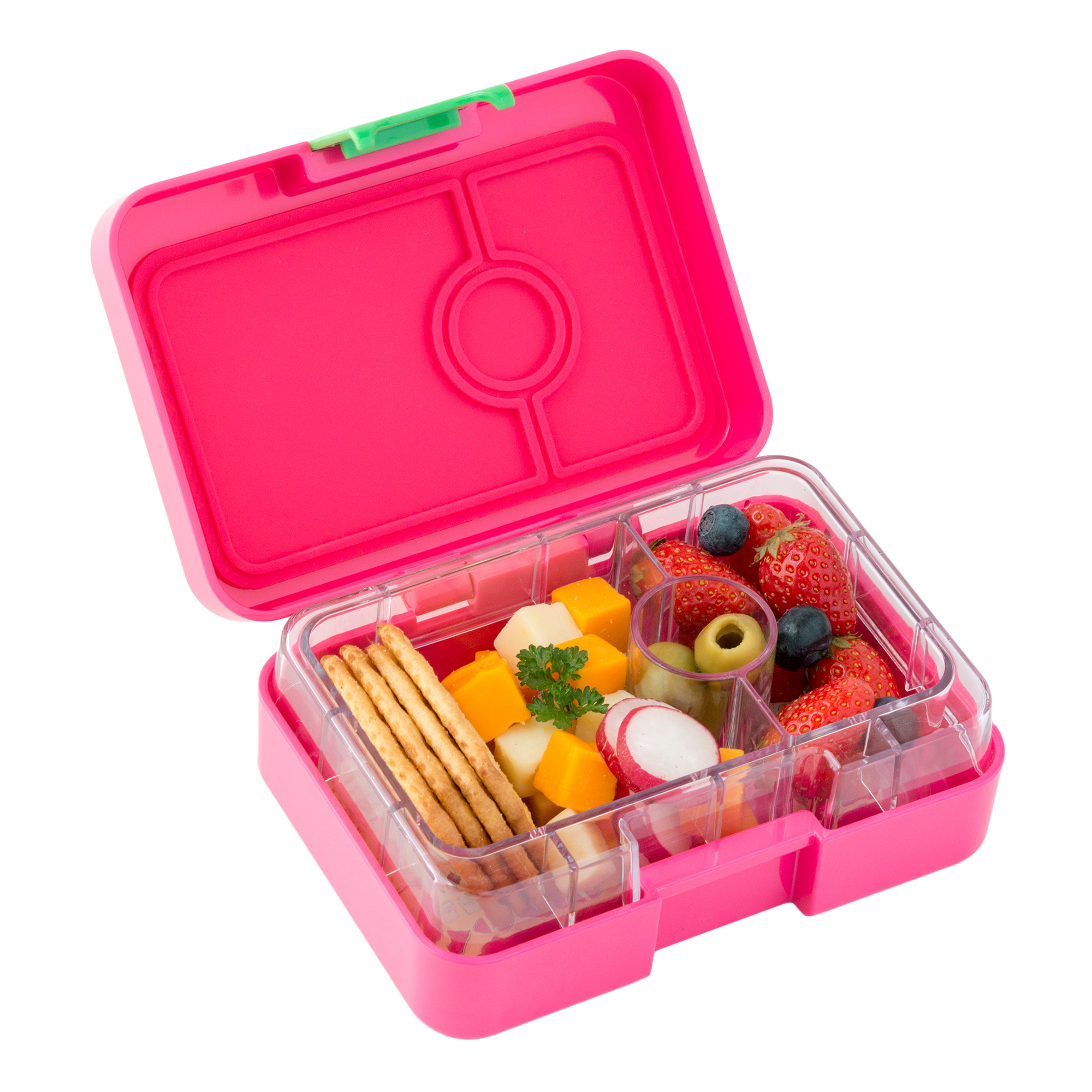 Yumbox MiniSnack 3-sections Cherie pink / Kittycat tray-2
