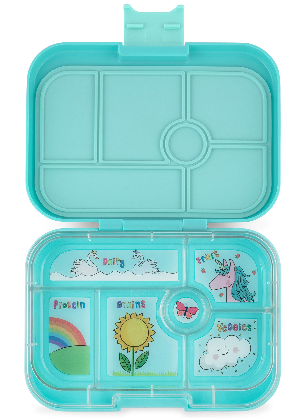 Yumbox Original 6-vakken Misty aqua / Unicorn tray-1