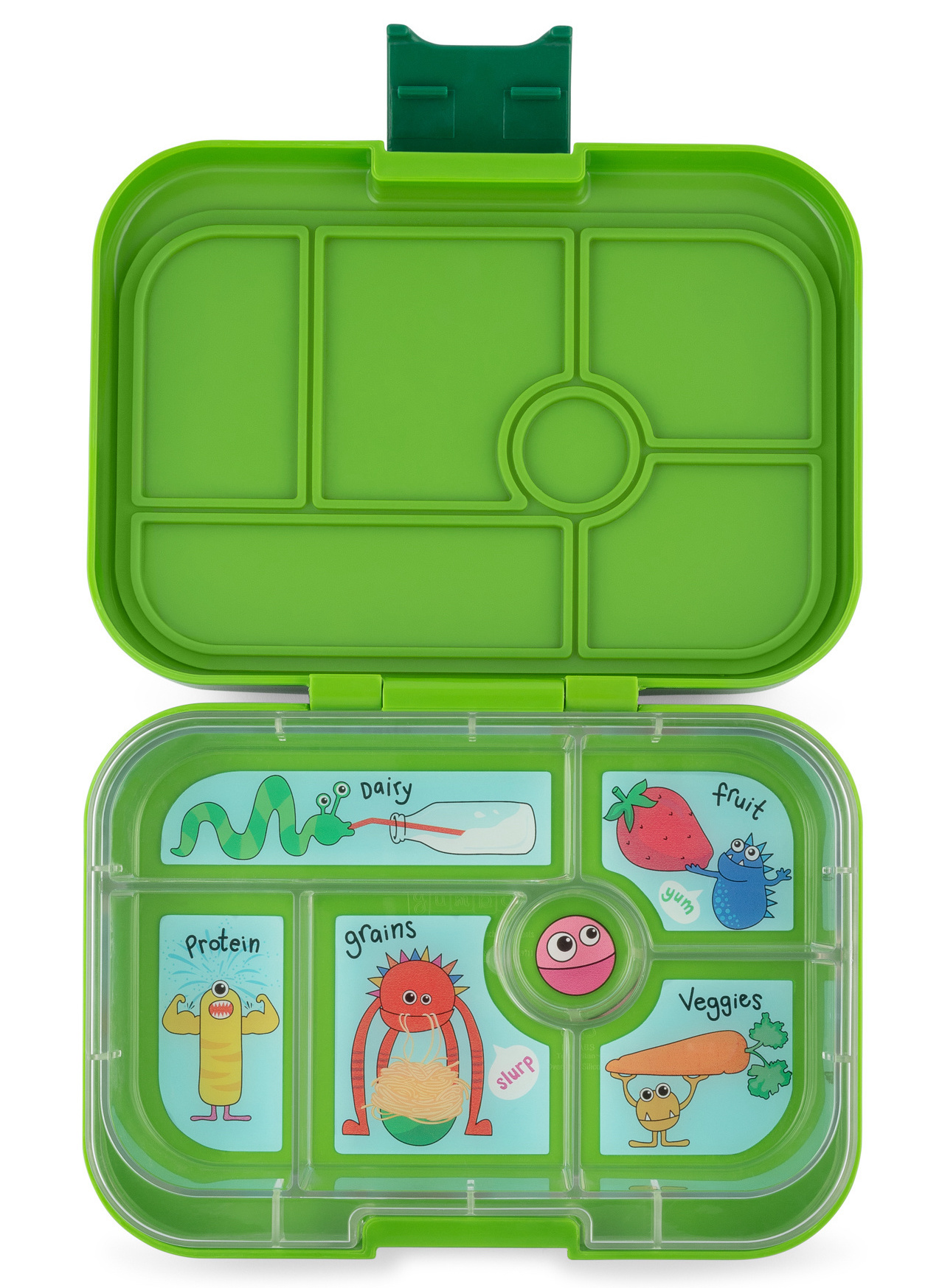 Yumbox Original 6-sections Go Green / Funny Monsters tray-1