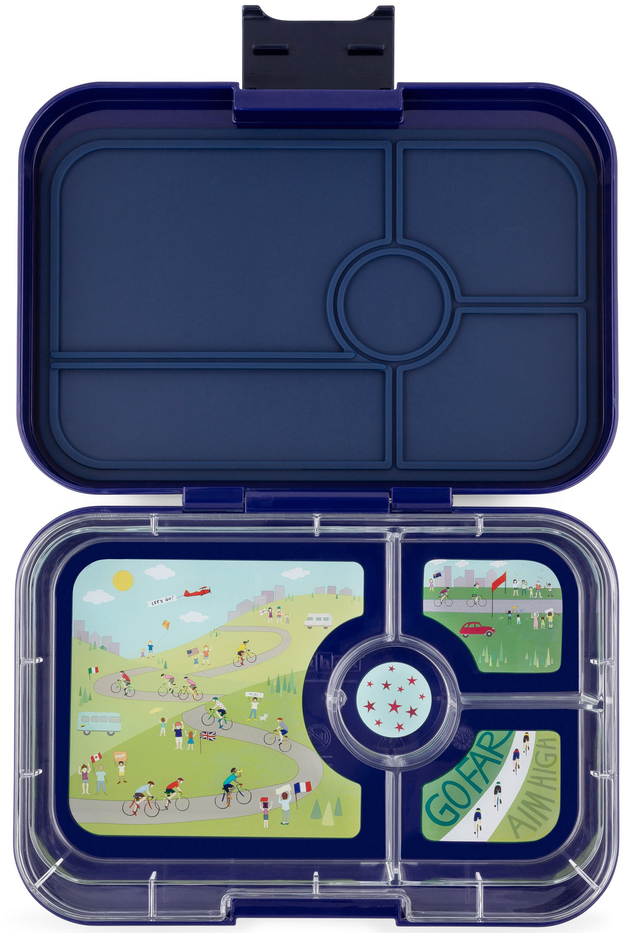 Yumbox Tapas XL 4-sections Portofino blue / Bike race tray 4 sections-1